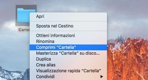 Comprimere file su Mac