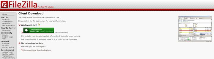 Pagina download FileZilla